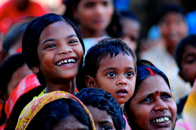 Villagers watching a show of performance on the need for planned families, Jharkhand