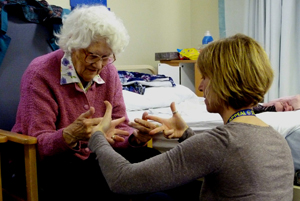Rebecca Seymour with Joyce, Young at Heart programme, Salisbury District Hospital. Photo:Peter Ursem