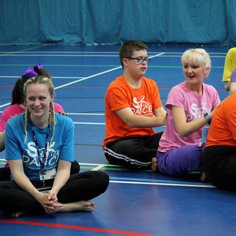 Charlotte Tomlinson (pink t-shirt) with SideKick Youth group. Photo: Freya Clarke.