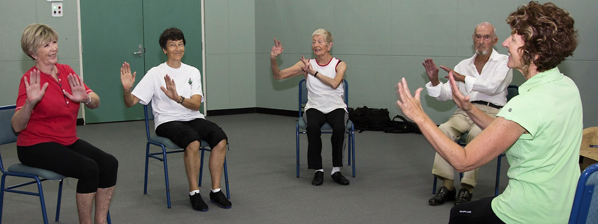 Gail Hewton (right) leads a seated Charleston routine