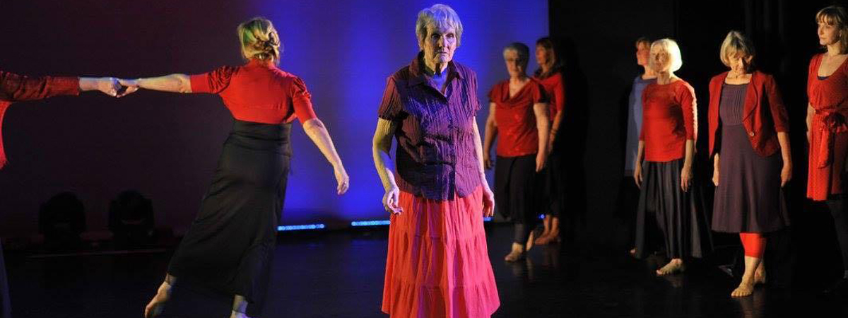Eileen Burrows performs with the Growing Older (Dis)Gracefully Dance company