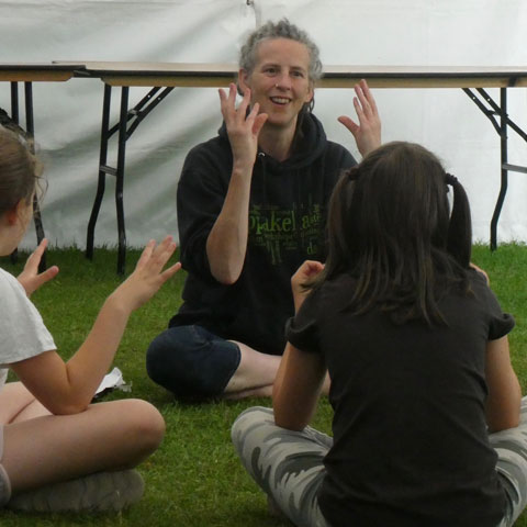Sara Marshall-Rose, Sidmouth Folk Festival Children's Workshop 2019. Photo: Phil Rose